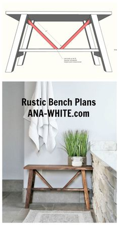 Ana White   Small Rustic Bench - DIY Projects #woodworkingprojects