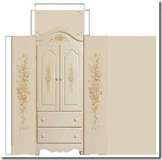 Another inspirational idea as pattern... paper dollhouse furniture wardrobe