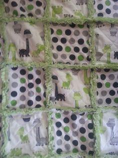 Giraffe n Dots Baby Rag Quilt by Diane Darvis