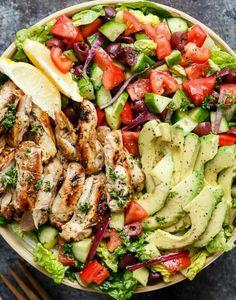Grilled Lemon Herb Chicken Salad http://cafedelites.com/2016/07/05/grilled-lemon-herb-mediterranean-chicken-salad-recipe/