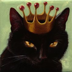 Made by: Kelly Vivanco - Black Cat Crown. That's how cats think of themselves Crazy Cat Lady, Crazy Cats, I Love Cats, Cool Cats, Memes Arte, Black Cat Art, Black Cats, Image Chat, Here Kitty Kitty