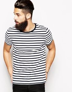 $23, T Shirt With Stripe And Contrast Ringer by Asos. Sold by Asos. Click for more info: http://lookastic.com/men/shop_items/115654/redirect