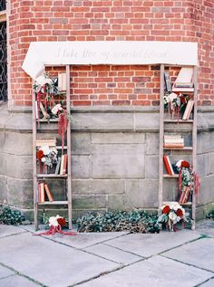 Books and ladder wedding ceremony | Nikki Santerre Photography | see more on: http://burnettsboards.com/2014/05/loving-type-wedding-inspired-love-letters/ #wedding #ceremony