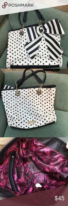 Betsey Johnson purse Large, Black/white/ Bow, SALE Really nice Betsey Johnson large purse polka for black/white & Bow is stripe , lots of compliments, a little wear as in last pic priced accordingly GREAT GIFT Betsey Johnson Bags Satchels