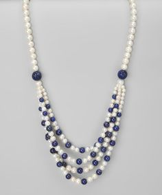 Take a look at this White Freshwater Pearl & Lapis Layered Necklace by KWAN COLLECTIONS on #zulily today!