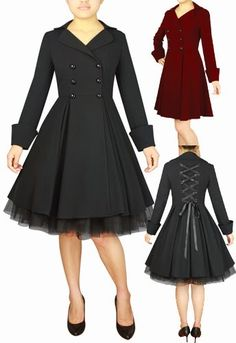 Blueberry Hill Fashions : Plus Size Coats Rockabilly & Gothic Styles Xs to Rockabilly Style, Rockabilly Fashion, Mode Pin Up, Gothic Fashion, Vintage Fashion, Pretty Outfits, Cute Outfits, Lady Like, Bon Look