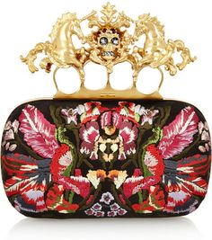 Alexander McQueen Unicorn Skull Embroidered Satin Box Clutch