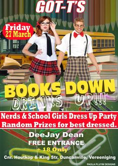 Nerds and School Girls Party at GOT-T'S on Friday 27 March. Be fun and dress up for the party. Random Prizes for those that dress up. School Girl Dress, Girls Dress Up, Club Dance Music, D School, Nice Dresses, Nerd, March, Friday, Random