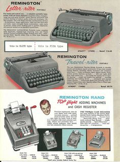 1950s Remington Typewriter ad.  #vintage #1950s #office #typewriter