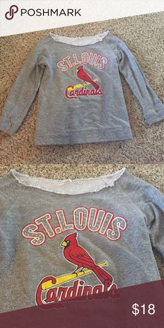 St. Louis Cardinals sweatshirt This sweatshirt is one of a kind, and you will be supporting your favorite baseball team! Good condition, has a wide neck to show off your shoulders, but still keep warm! Sweaters Crew & Scoop Necks