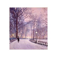 R.S. Riddick - New York Snow Scene ❤ liked on Polyvore featuring backgrounds, pictures, winter, photos and art