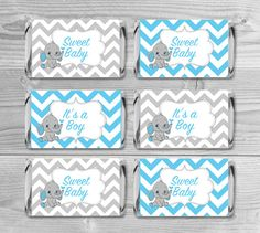mini candy wrappers blue and gray chevron elephant baby shower favors sweet baby u0026