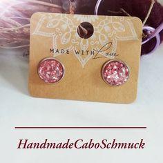 "Cabochon Ohrringe Ohrstecker Ohrhänger 12mm rosa ""Konfetti"", Edelstahl oder Bronzefassung"
