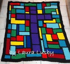 This Stained Glass Cross Afghan crochet pattern is a wonderful project to use up some leftover yarn, so many gorgeous color options. What you need for the Stained Glass Cross afghan: Crochet Afghans, C2c Crochet, Crochet Quilt, Crochet Cross, Free Crochet, Crochet Blankets, Crochet Ideas, Crochet Stitches, Crochet Projects