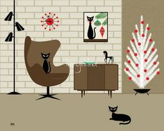 Christmas Room by Donna Mibus - mid century art, black cats