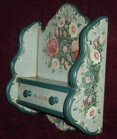 Austrian Bauern Style Shelf with Drawer love the colour scheme One Stroke Painting, Tole Painting, Painting On Wood, Furniture Makeover, Furniture Decor, Diy And Crafts, Arts And Crafts, Norwegian Rosemaling, Art Decor