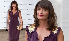 Helena Christensen puts on a busty display in purple dress at opera