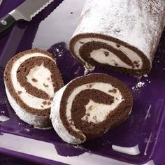 Chocolate Cannoli Cake Roll - don't use low fat cream cheese or ricotta, use the real stuff or your filling will be runny!!