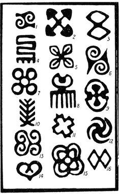 Adinkra symbols  Source 	R. S. Rattray, Religion and Art in Ashanti (Oxford, 1927) http://en.wikipedia.org/wiki/File:Adinkra_Rattray.JPG