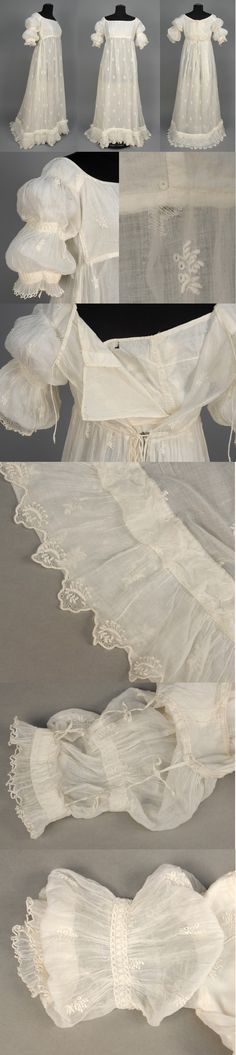 EMBROIDERED NEOCLASSICAL COTTON GOWN, 1799 - 1810. Muslin (probably Bengali) having allover sprigged Broderie Anglaise, short sleeve with three pairs of inside ties to adjust a double puff, ruffled edge, back tie at neckline and high waist, ruched band above slightly trained hem with scalloped sawtooth border, cotton bodice lining. Whitaker Auctions