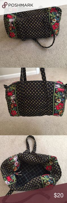 Small fabric duffel bag Vera Bradley small duffel, more neutral pattern with a side pocket and zip closure Vera Bradley Bags Travel Bags