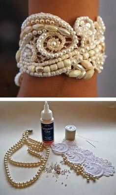 DIY: vintage lace wedding cuff - tutorial Scrap from mom's dress. Could even stitch it with colored beads for an everyday bracelet. Beaded Lace, Beaded Embroidery, Beaded Jewelry, Handmade Jewelry, Beaded Bracelets, Lace Bracelet, Wedding Bracelet, Diy Lace Jewelry, Wedding Jewelry