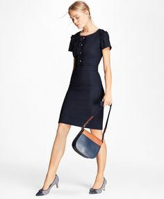 1c3d83d72f Brooks Brothers Ruffle-Trimmed Stretch-Wool Sheath Dress What To Wear  Today, Wool