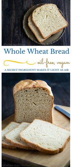 This FatFree Vegan Bread Machine Whole Wheat Bread has a Secret Ingredient Whole Wheat Bread Machine Recipe, Bread Machine Wheat Bread Recipe, 100 Whole Wheat Bread, Bread Maker Recipes, Fat Free Bread Recipe, Vegan Wheat Bread Recipe, Paleo Bread, Vegan Baking, Bread Baking