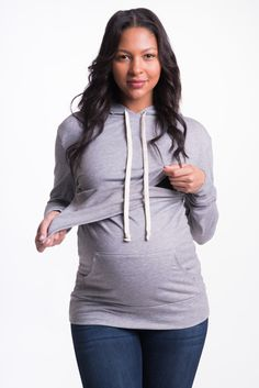 This hoodie goes a long way! You can wear it during bump, breastfeeding, and well after. No one can tell it's for nursing! Bun Maternity's Signature and Original Cozy Nursing Hoodie allows moms to bre