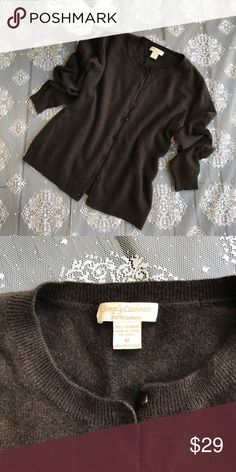 Simply Cashmere 100% cashmere Brown color classic cardigan in very good condition 100% cashmere size medium Simply Cashmere Sweaters Cardigans
