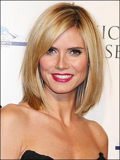 lob hair cut side bangs | Heidi Klum Lob with long side swept bangs | Hair