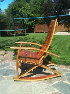 Barrel stave rocking chair