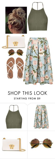 """""""Floral"""" by darkestangel13 ❤ liked on Polyvore featuring Topshop, Miss Selfridge, Versace and Billabong"""