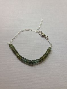 Moss Aquamarine faceted Roundels  with a Sterling Silver Chain. Bracelet Etsy.com