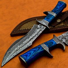 Handmade Damascus Hunting Knife With Antique Raindrop blade and Acrylic Handle #Damascus