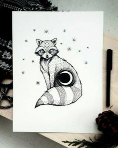 Moon Spirit racoon. Cute illustration of raccoon with a Cresent moon and stars. Black and white ink drawing. Unique home decor and picture