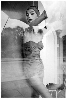Nena Von Schlebrugge in bathing suit by Jantzen,  Photo by Norman Parkinson for Queen Magazine,1960