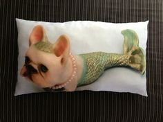 Adorable French Bulldog Mermaid on a full sized pillow.  Original photograph reproduced onto high quality fabric and made into a pillow. Listing is for complete pillow, but does NOT include shipping. Pillow is fully washable.
