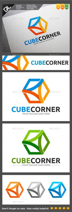 Cube Corner Logo Template Easy to edit logo template with your own company name with vector for highly resizeable and printing.Fea