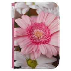Gerberas And Chrysanthemums Kindle Case #flowers #pink #gerbera #white #mums #kindle #cases #zazzle $47.95