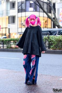 Pink Twintails Kawaii Harajuku Street Style w/ Face Mask, One Spo Oversized Top & Qooza Platform Creepers Tokyo Fashion, Harajuku Fashion, Fashion News, Fashion Brands, Tokyo Street Style, Tokyo Style, Harajuku Mode, Street Goth, Platform Creepers