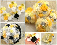 Bridesmaids Bouquets Brooch Wedding Bouquets in Yellow by SolBijou, $480.00
