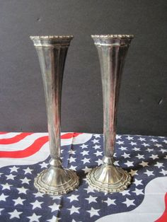 Pair of HMC Avon Silver Plate Vases made in Italy Decorative Collectible Flower
