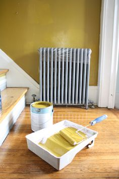 "Color: ""burnished bronze"" by Behr / {plus} How To Paint Behind a Radiator"