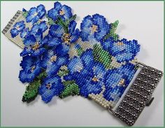 """Forget Me Not"" flower cuff, woven on a bead loom. The clasp was custom made by a wonderful 'Smithy', Catherine Pruitt."