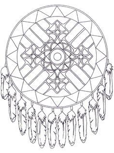Native American Dreamcatcher Mandala coloring page
