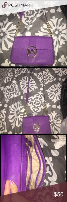 Michael kors Cross body purple with gold accents ‼️SUMMERS COMING LADIES‼️  ➕bundle 2️⃣or more % off   NO TRADE ❌FIRM ON PRICE❌ Michael Kors Bags Crossbody Bags
