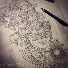 "209 Likes, 7 Comments - ⚜️Jenna Kerr⚜️ (@jennakerrtattoo) on Instagram: ""#Venetianmask #venetian #roco #pocketwatch #filigree #filigreetattoo #carnivalmask #mask #venice…"""