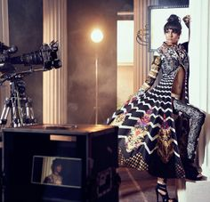#Print fusion with traditional looks by Diva'ni  Source: #Vogue India #design #runaway #fashion www.chimoraprint.com