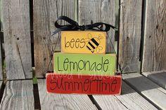 Summer Summertime Wood Block Set Seasonal Home Decor Primitive Seasonal Gift Birthday Americana Sign via Etsy
